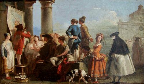 """""""The Storyteller,"""" by Giovanni Domenico Tiepolo (c. mid-1770s) Public domain, via Wikimedia Commons"""