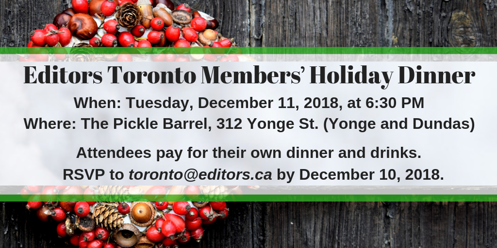 Editors Toronto members' holiday dinner invitation