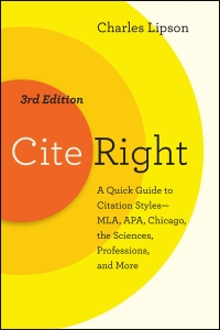 Cover of Cite Right, Third Edition by Charles Lipson