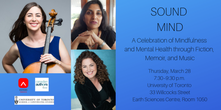 "Graphic with photos of three speakers at March 28 program meeting titled ""Sound Mind: A Celebration of Mindfulness and Mental Health through Fiction, Memoir, and Music"""