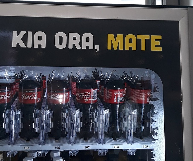 "Coca-Cola vending machine in New Zealand with the words ""Kia Ora, Mate."" Translation fail because ""mate"" means ""death"" in Māori."