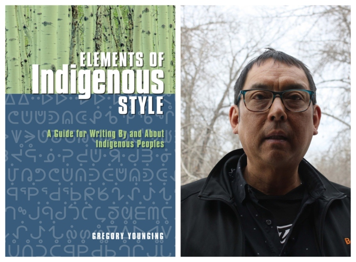 "Cover of ""Elements of Indigenous Style"" style manual next to photo of Gregory Younging"