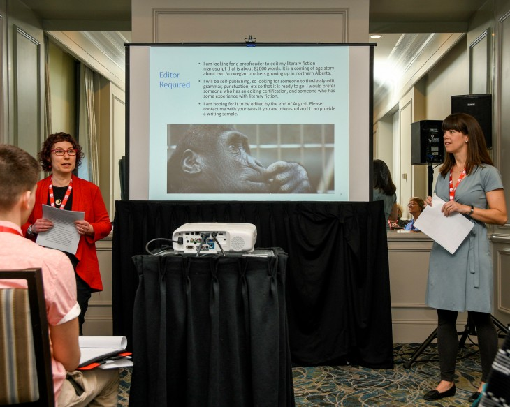 "Michelle Waitzman and Jess Shulman at their session ""Making smart choices: Which freelance projects are right for you?"" Editors Canada 40th anniversary conference; June 8, 2019; Halifax, Nova Scotia."